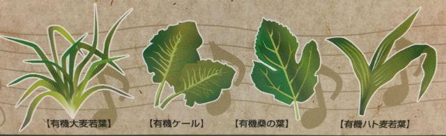 プロスペリティ有機青汁「四重奏」パッケージの4つの有機野菜