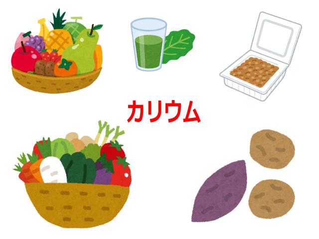 カリウムが含まれる食品(果物・野菜・青汁・納豆・イモ類)