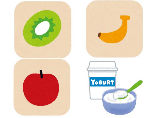 果物(バナナ・キウイ・リンゴ)とヨーグルト